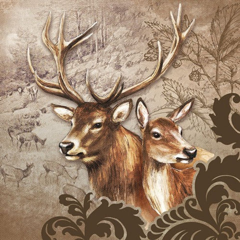 5 Napkins Brown Deer Couple 33 x 33 cm Tissue Decoupage Paper Party Craft - Hobby & Crafts