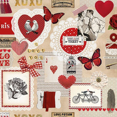 5 Napkins Love Ticket 33 x 33 cm Tissue Decoupage Paper Party Craft - Hobby & Crafts