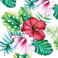 5 Napkins Hibiscus Floral 33x33cm Tissue Decoupage Paper Party Card Making Crafts