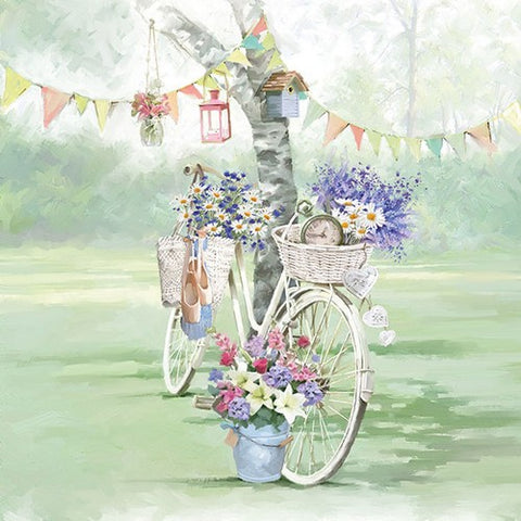 5 Napkins Bike Against Tree 33 x 33 cm Tissue Decoupage Paper Party Craft - Hobby & Crafts