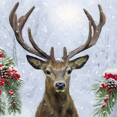 5 Napkins Deer In Winter 33 x 33 cm Tissue Decoupage Paper Party Craft - Hobby & Crafts