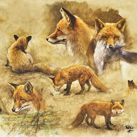 5 Napkins Foxes 33 x 33 cm Tissue Decoupage Paper Party Craft - Hobby & Crafts