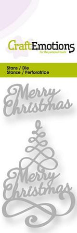 Merry Christmas Tree Stencil Die Universal Embossing Cutting Machine Sizzix Card Making - Hobby & Crafts