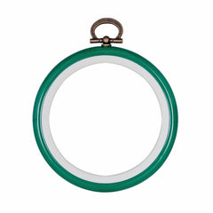 Embroidery Flexi Hoop CrossStitch Sewing Round Plastic Frame - 3 inch GREEN - Hobby & Crafts