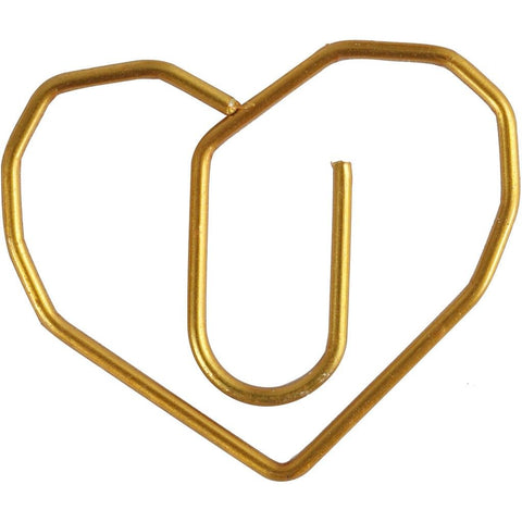 Heart Shaped Metal Gold Colour Paperclips For Card Gift Decorations 30 mm x 20 mm