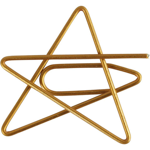 Star Shaped Metal Gold Colour Paperclips For Card Gift Decorations 30 mm x 30 mm