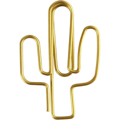 Cactus Shaped Metal Gold Colour Paperclips For Card Gift Decorations 40 mm x 30 mm