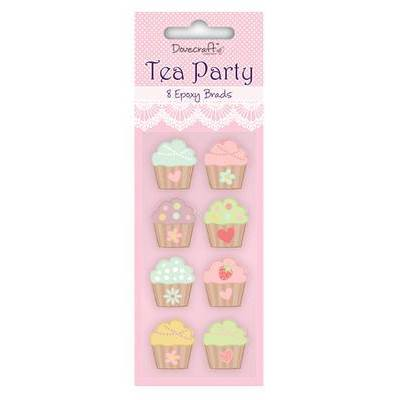 Cupcake Tea Party Cute Pastel Epoxy Brads  x 8 - Hobby & Crafts