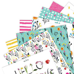 Papermania In Bloom Double Side Printed Paper Pad Alphabet Sticker Sheets 15.2cm