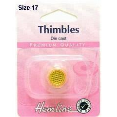 Hemline Die Cast Sewing Thimble Gold Plated Large - Hobby & Crafts