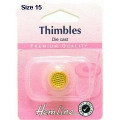 Hemline Die Cast Sewing Thimble Gold Plated Small - Hobby & Crafts