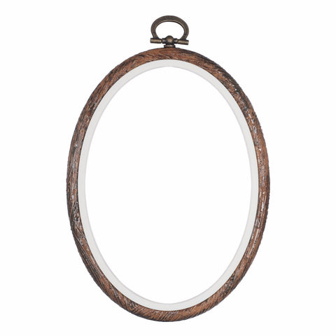 Embroidery Flexi Hoop CrossStitch Sewing Oval Plastic Frame - 4 x 5 inch - Hobby & Crafts