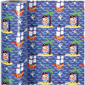 Pirates Roll Of Christmas Wrapping Paper Giftswrap Home Crafts Decoration 80g 150m - Hobby & Crafts