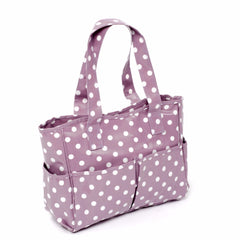 PVC Craft And Knitting Storage Bag Pockets All Round - Mauve Spotty - Hobby & Crafts