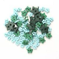 Trimits Mini Craft Stars Buttons - Green Shades - Hobby & Crafts