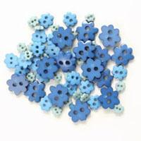 Trimits Mini Craft Flower Buttons - Blue Shades - Hobby & Crafts