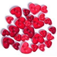 Trimits Mini Craft Transparent Heart Buttons - Red Shades - Hobby & Crafts