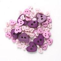 Trimits Mini Craft Hearts Buttons - Purples Shades - Hobby & Crafts