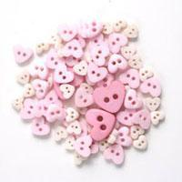 Trimits Mini Craft Heart Buttons - Pink Shades - Hobby & Crafts