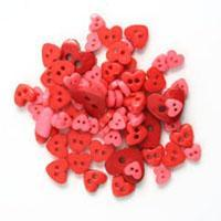 Trimits Mini Craft Hearts Buttons - Red Shades - Hobby & Crafts