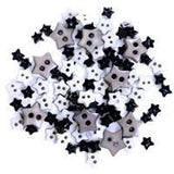 Trimits Mini Craft Stars Buttons - Black Shades - Hobby & Crafts