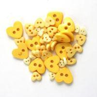 Trimits Mini Craft Heart Buttons - Yellow Shades - Hobby & Crafts