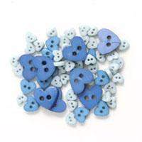 Trimits Mini Craft Heart Buttons - Blue Shades - Hobby & Crafts