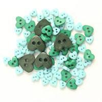 Trimits Mini Craft Hearts Buttons -Green Shades - Hobby & Crafts