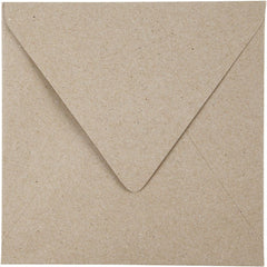 50 x Square Natural Colour Recycled Paper Envelopes Office Mailing Supplies 16cm - Hobby & Crafts