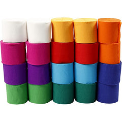 20 x 20metres Crepe Paper 5cm Streamers Assorted Bright Colours Party Craft