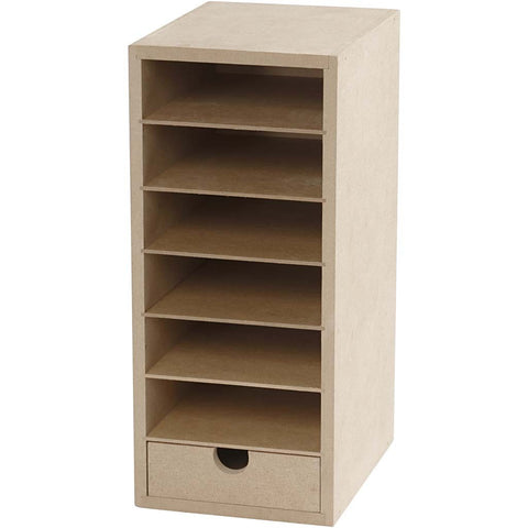 A6 Paper Card Storage Filing Cabinet MDF Wood Wooden Strong 6 Shelves 1 Drawer