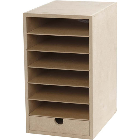 A5 Paper Card Storage Filing Cabinet MDF Wood Wooden Strong 6 Shelves 1 Drawer - Hobby & Crafts