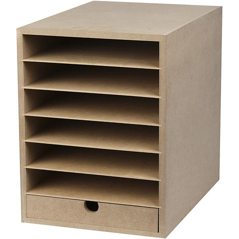 A4 Paper Card Storage Filing Cabinet MDF Wood Wooden Strong 6 Shelves 1 Drawer - Hobby & Crafts