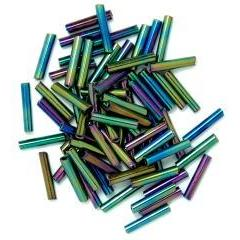 Rainbow long bugle glass beads - Hobby & Crafts