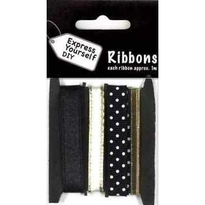 Black, White & Gold Ribbons with Dots  Total 4 Meters - Hobby & Crafts