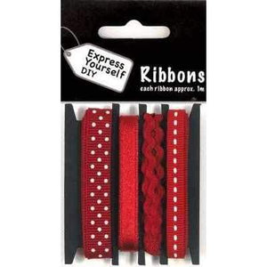 Dark Red Ribbons and Rick Racks with Dots & Line Total 4 Meters - Hobby & Crafts