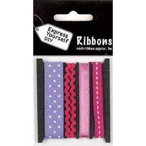 Dots & Line on Pink & Lilac Ribbons and Rick Rack - Total 4 Meters - Hobby & Crafts