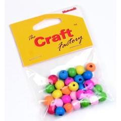 Craft factory Coloured Wooden Beads 10mm -15grams - Hobby & Crafts