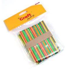50 x Craft Factory Wooden Lollypop Sticks Coloured - Hobby & Crafts