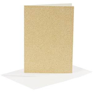 4 x Gold Colour Glitter Cards Paper Envelopes For Greetings Decoration