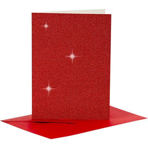 4 x Red Colour Glitter Cards Paper Envelopes For Greetings Decoration