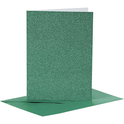 4 x Green Colour Glitter Cards Paper Envelopes For Greetings Decoration