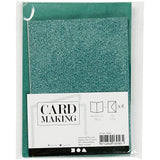 4 x Green Colour Glitter Cards Paper Envelopes For Greetings Decoration - Hobby & Crafts