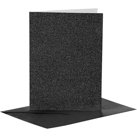 4 x Black Colour Glitter Cards Paper Envelopes For Greetings Decoration