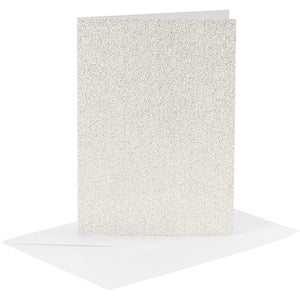 4 x White Colour Glitter Cards Paper Envelopes For Greetings Decoration