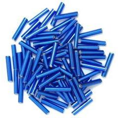Royal Blue long bugle glass beads - Hobby & Crafts
