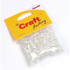 Craft factory Clear / Pearl  Plastic Beads - 30 grams - Hobby & Crafts