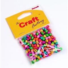 Craft factory Coloured Wooden Beads 6mm -15grams - Hobby & Crafts