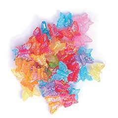 Craft Factory Butterfly Shaped Coloured Plastic Beads - 15 grams - Hobby & Crafts