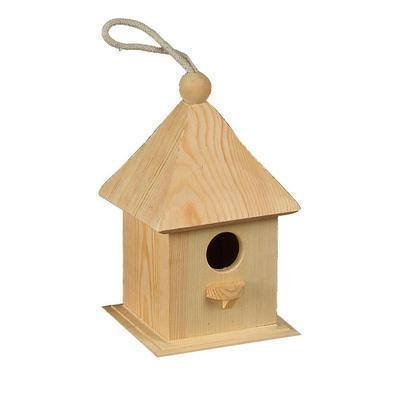 Wooden Bird House Feed 12 x 12 x 20 cm - Hobby & Crafts